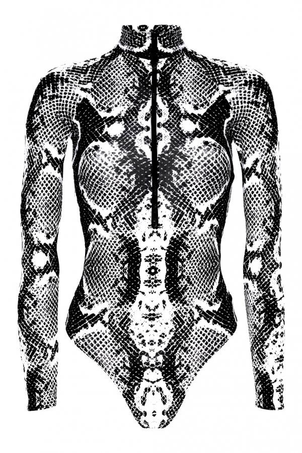 Black Snake Long Sleeve Bikini Suit