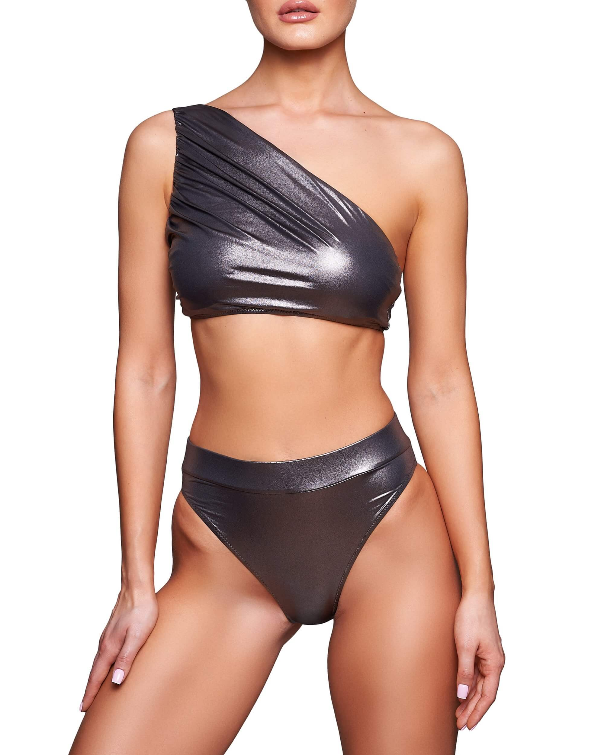 Gun Metal High Waist Bikini Bottom