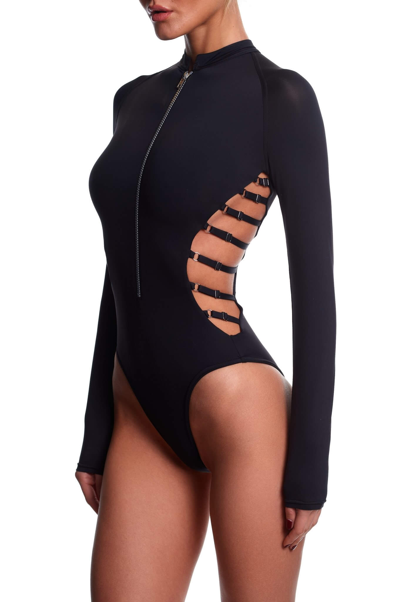 Black Sclupting Long Sleeve Swimsuit