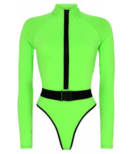 Surf-Up Neon Green Swimsuit