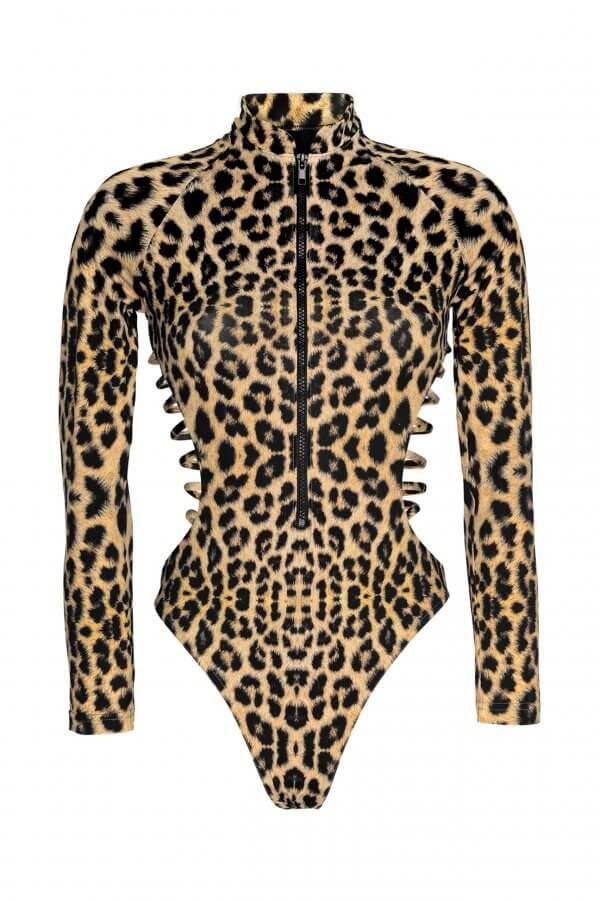 Leopard Long Sleeve Bikini Suit