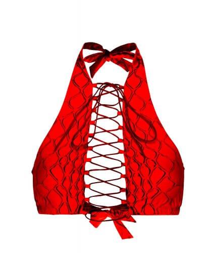 Red Snake Addicted Bikini Top