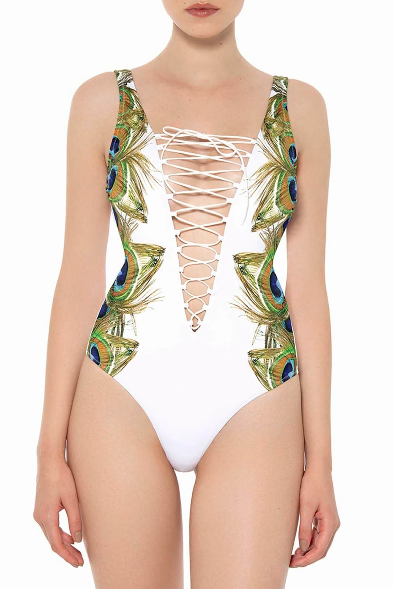 Peacock Lace-up One-Piece
