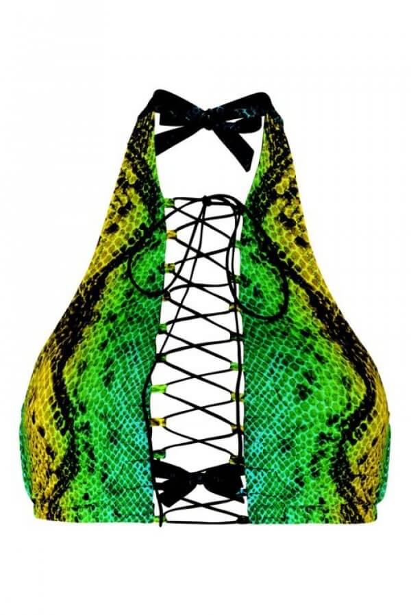 Green Snake Addicted Bikini Top