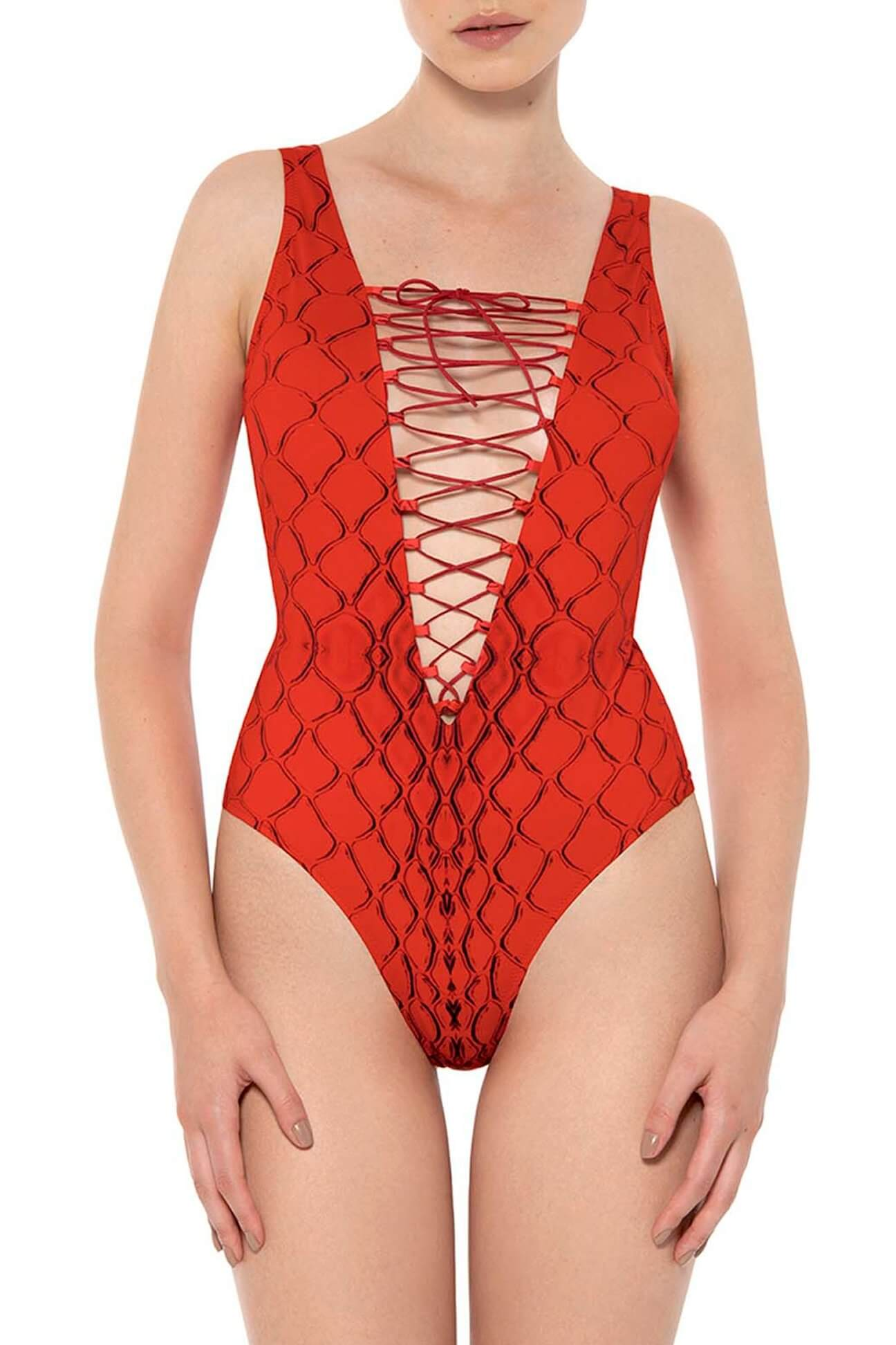 Red Snake Lace-up One-Piece