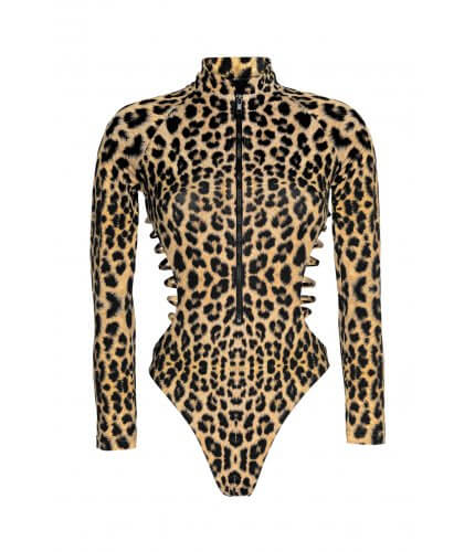 Leopard Long Sleeve Bikini Suit