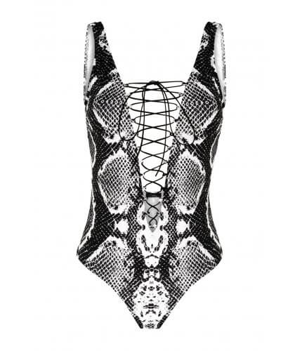 Black Snake Lace-up One-Piece