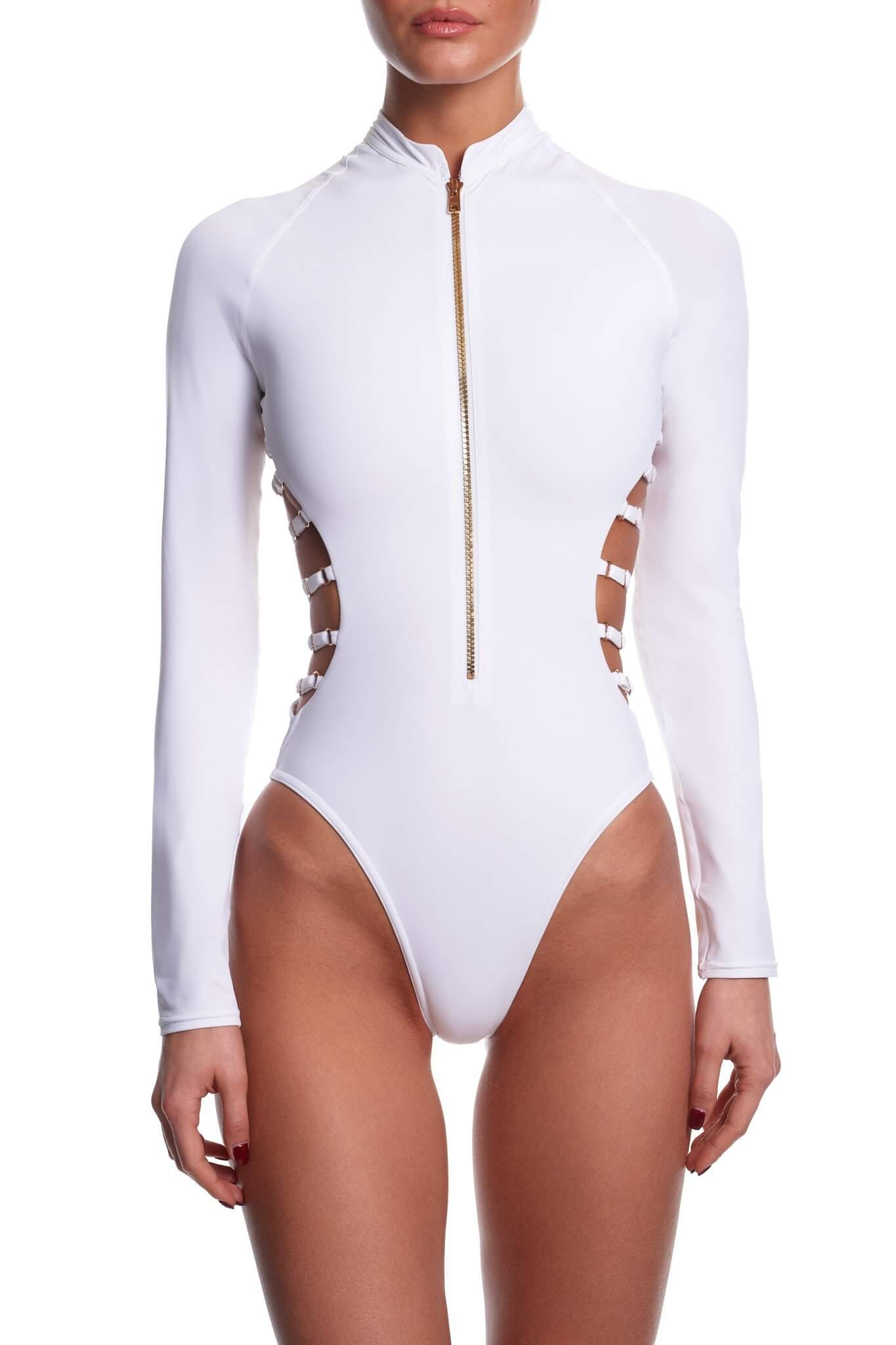 White Sclupting Long Sleeve Swimsuit