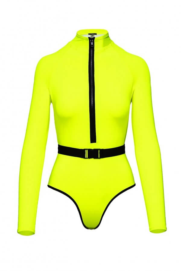 Surf-Up Neon Yellow Swimsuit