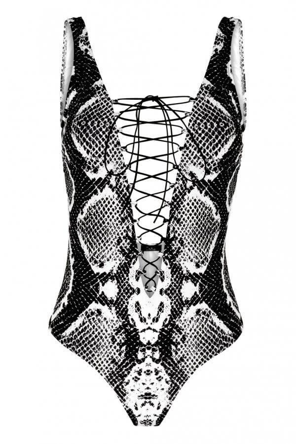 Black Snake Lace-up One-Piece